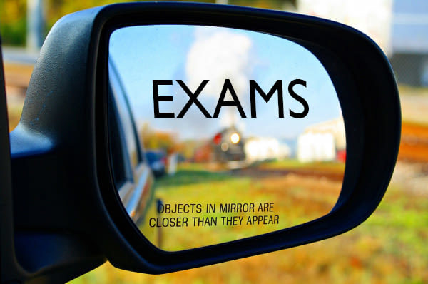 Image may contain: text that says 'OBJECTS IN THE MIRROR EXAMS imgflip.com ARE CLOSER THAN THEY APPEAR'